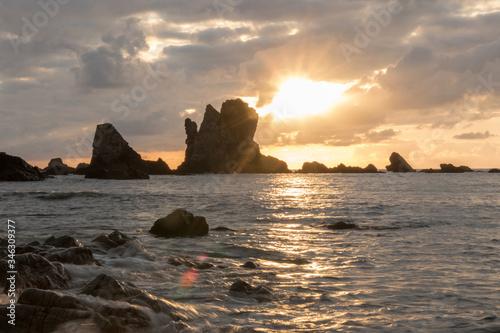 costa rocosa mar asturias atardecer Canvas Print