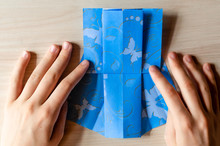 Girl's Hands Making Origami Bl...