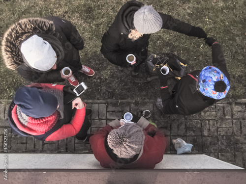 Directly Above Shot Of Friends Standing On Street Tablou Canvas