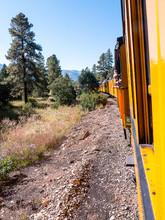 The Narrow Gauge Railway From Durango To Silverton That Runs Through The Rocky Mountains By The River Animas In Colorado USA