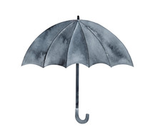 Water Color Illustration Of Black Opened Umbrella With Curved Hook Handle. One Single Object, Side View. Hand Drawn Watercolour Artistic Drawing On White, Cutout Clipart Element For Design Decoration.