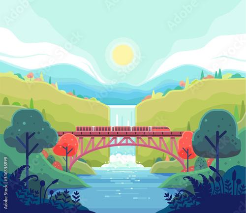 Fotografia Vector illustration of trains crossing a river over the railroad bridge