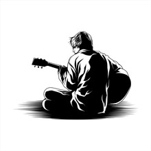 Young Man Playing Guitar Illustration Vector