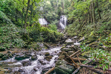 Magnificent View Of  Waterfalls Of Anna Ruby Falls In Helen, GA, USA