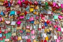 Full Frame Shot Of Love Locks