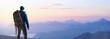canvas print picture - Wanderer bei Sonnenaufgang auf einem Berggipfel