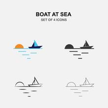 Boat At Sea Vector Icon At Sun...