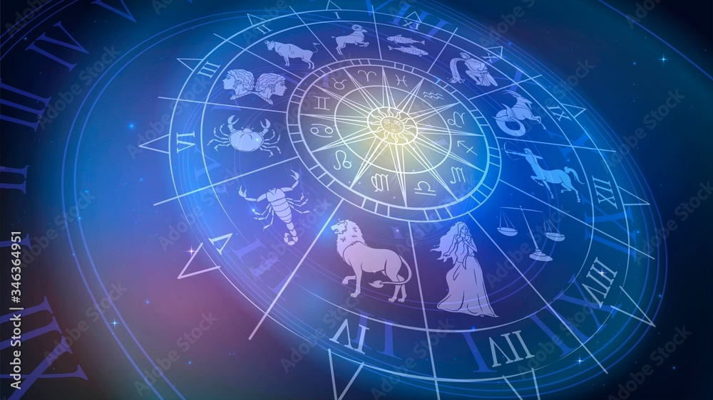 Fototapeta Wheel chart with zodiac signs in space, astrology and horoscope