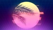 Futuristic neon background with sun with glitch effect and palm branches silhouettes