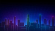 Futuristic Neon Landscape With...