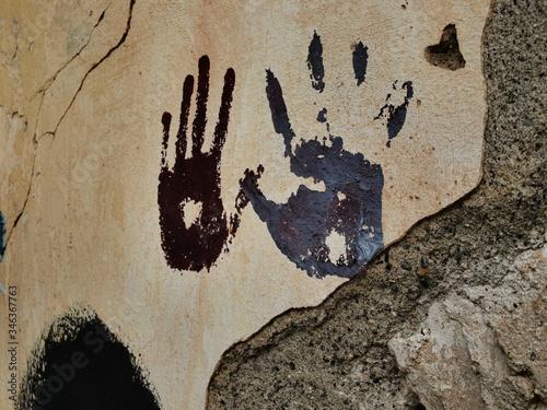 Vászonkép Handprints On Wall
