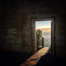 Sea Seen Through Abandoned Prison At Alcatraz Island