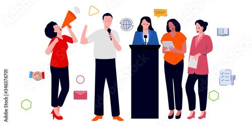 Obraz na plátne public speaking characters set