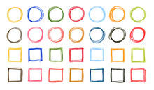 Hand Drawn Colorful Circles And  Squares Written By Colored Pencil