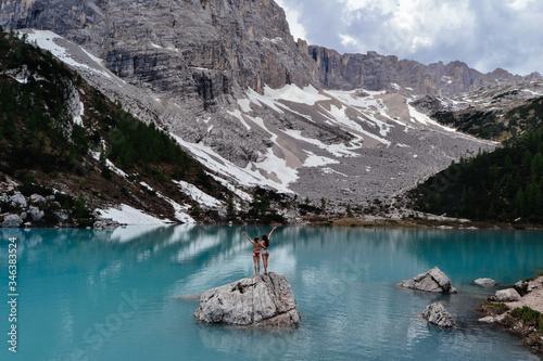 Obraz na plátně Lake Lago di Sorapiss in Dolomity, Italy
