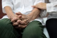 Old Elderly Patient Hands Clas...