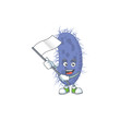 Cute cartoon character of salmonella typhi holding white flag