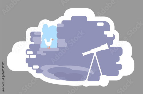 Photo Astronomer tower 2D vector web banner, poster