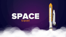 Travel Space. Purple Banner On...