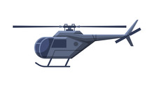 Black Helicopter, Government Vehicle, Luxury Business Transportation, Side View Flat Vector Illustration