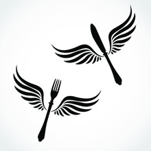 Winged Silhouette Fork And Knife / Food Theme
