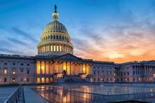 US Capitol Building At Sunset, Washington DC, USA.