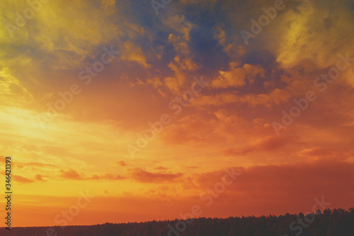 Fototapety, obrazy: Colorful cloudy sky at sunset. Gradient color. Sky texture, abstract nature background