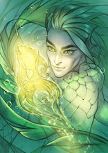 Fantasy Graphic Portrait Illustration Of A Handsome Male Mermaid With A Magic Glowing Fish As A Pet