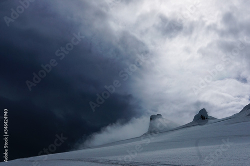 Fotografie, Obraz View towards the glacier top of Snaefellsjokull volcano on Snaefellsnes peninsul