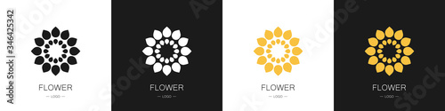 Set of flower logos Canvas Print