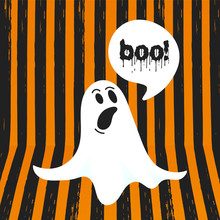Boo Ghost Halloween Message Concept. Flying Halloween Funny Spooky Ghost Character Say BOO With Text Space In The Speech Bubble Vector Illustration Isolated On Orange Striped Background.
