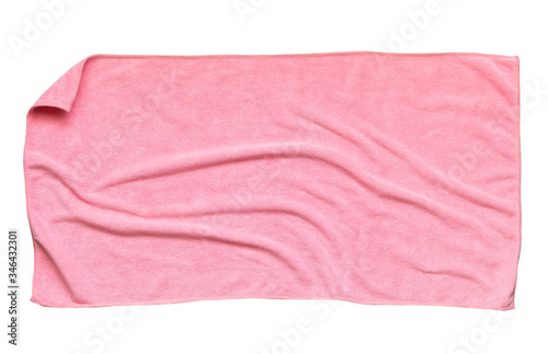 Vászonkép Pink beach towel isolated white background