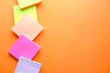 colorful sticky note on color background with copy space