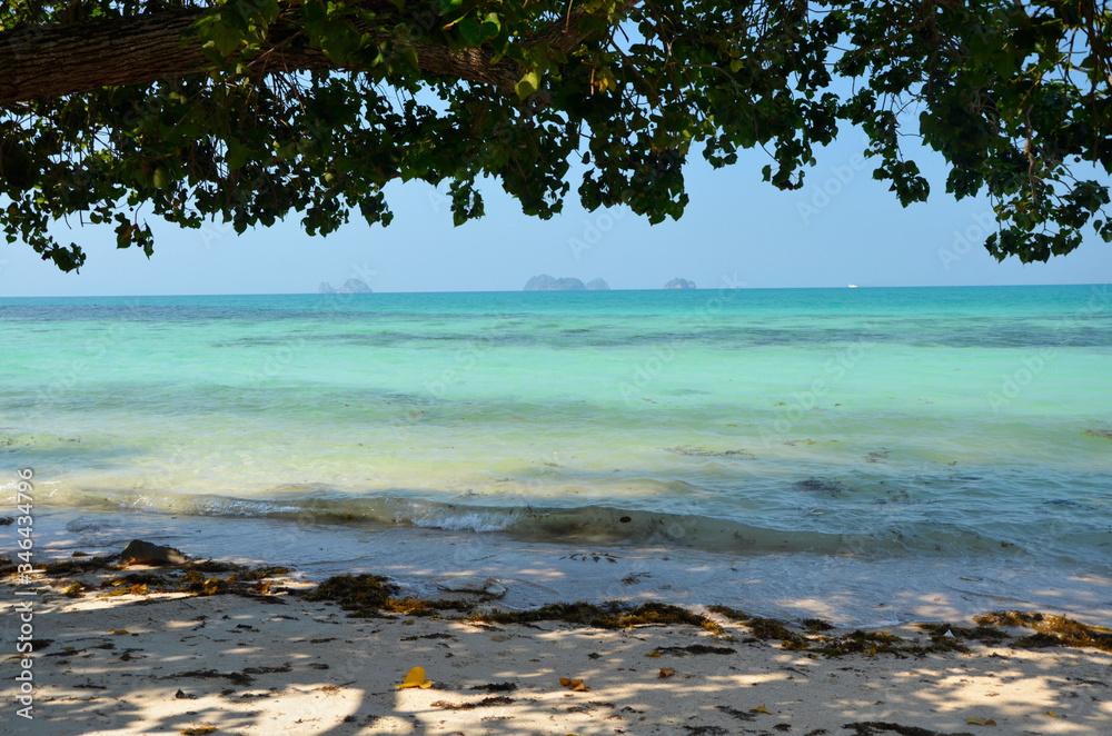 Fototapeta Błękitne niebo i turkusowe morze w Zatoce Tajlandzkiej - Plaża na wyspie Koh Samui w Tajlandii