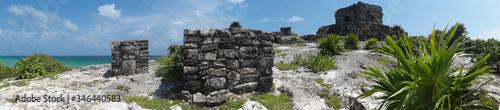 Fototapeta Panorama ruin miasta Majów - Tulum w Meksyku obraz