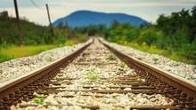 Ground Level Shot Of A Railway...