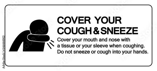 Photo Cover your cough and sneeze Symbol, Vector  Illustration, Isolated On White Background Label