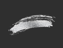 Silver Foil Brush Stroke. Glossy Chrome Scribble, Glitter Texture Isolated On Black Background. Vector Shiny Metallic Brushstroke Element Design