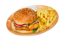 Burger And French Fries Isolated On White,  Food Menu