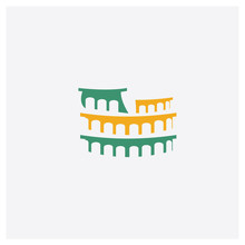 Colosseum Concept 2 Colored Icon. Isolated Orange And Green Colosseum Vector Symbol Design. Can Be Used For Web And Mobile UI/UX
