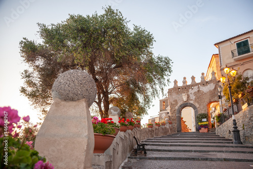 Old door and staircase of the city of Agropoli in Cilento, Campania, Italy Canvas Print