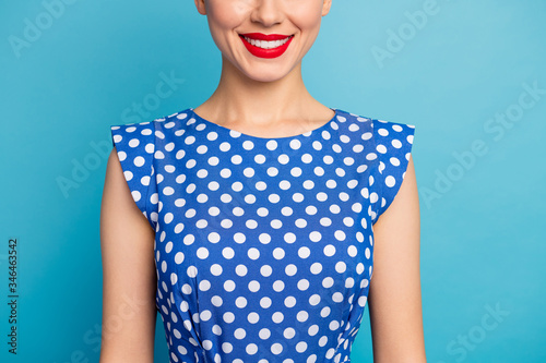 Photo Cropped closeup photo of pretty lady show perfect teeth red lips allure tempting
