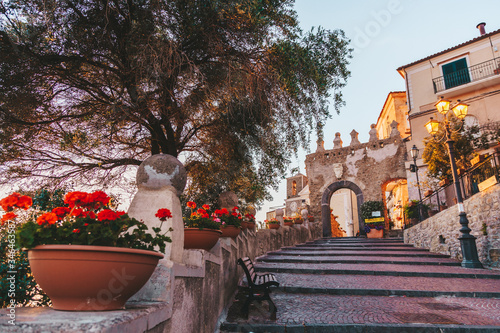 Old door and staircase of the city of Agropoli in Cilento, Campania, Italy Wallpaper Mural