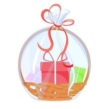 Gift Basket. Holiday Celebration Present With Bow Ribbon And Surprise Box. Vector