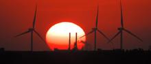 Silhouette Wind Turbines Durin...