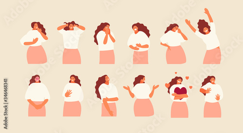Fototapeta Set girl character with different emotions and gestures. Vector illustration obraz