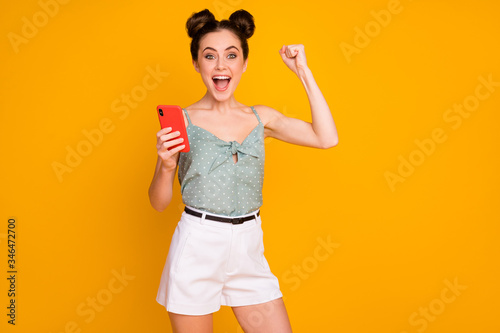 Portrait of ecstatic crazy hipster girl use smartphone achieve thousand social m Slika na platnu