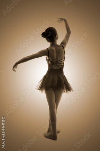 Bailarina sobre fondo color sepia Canvas Print