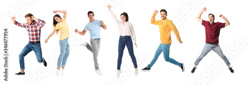Leinwand Poster Collage of emotional people jumping on white background