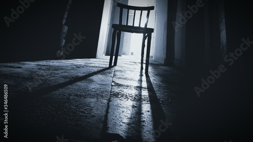 Fotomural Low Angle View Of Abandoned Chair In Darkroom